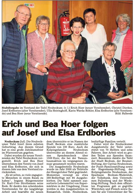 Erich und Bea Hoer folgen auf Josef und Elsa Erdbories