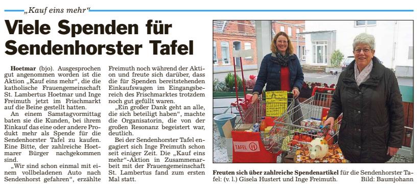 Viele Spenden für Sendenhorster Tafel
