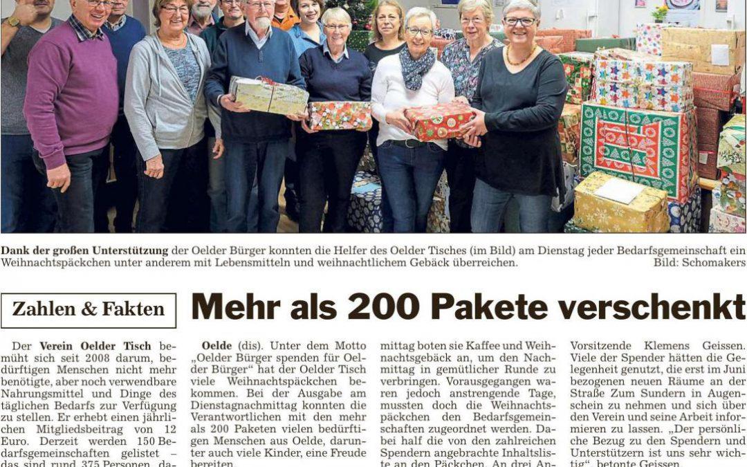 Mehr als 200 Pakete verschenkt