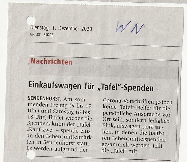 """Einkaufswagen für """"Tafel""""-Spenden"""